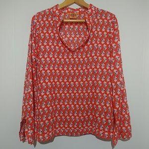 Tory Burch Stephanie Tunic Orange Sequins Size 10